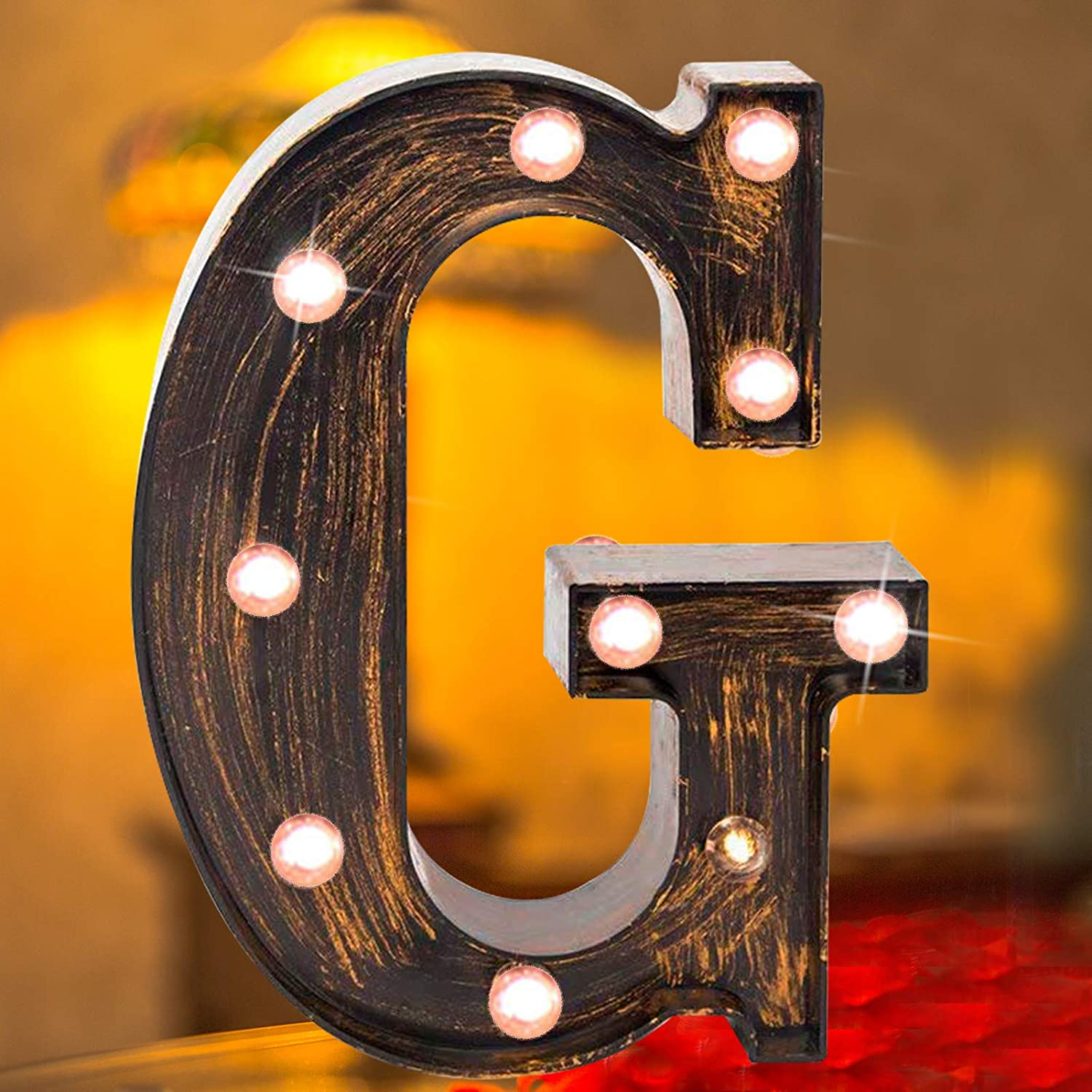 Vintage LED Marquee Letter Lights Light Up Industrial 26 Alphabet Name Signs Bar Cafe Initials Decor for Birthday Party Christmas Wedding Events(letter G)