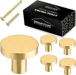 QogriSun 5-Pack Solid Brass Cabinet Knobs, 1-3/16-Inch Diameter, Round Gold Decorative, Mid Century Modern Copper Kitchen Hardware, Drawer Pulls, Dresser Handles, Brushed Finish