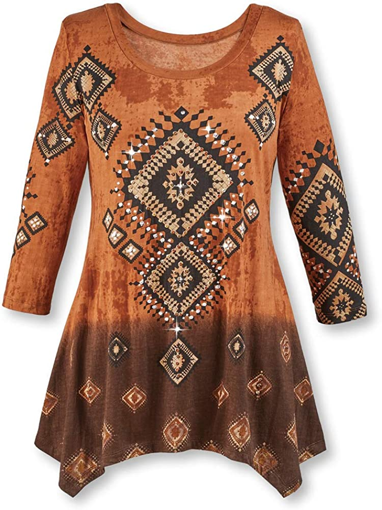 Diamond Aztec Sharkbite Tunic Top Southwestern Style, Three Quarter Sleeves, Brown Ombre