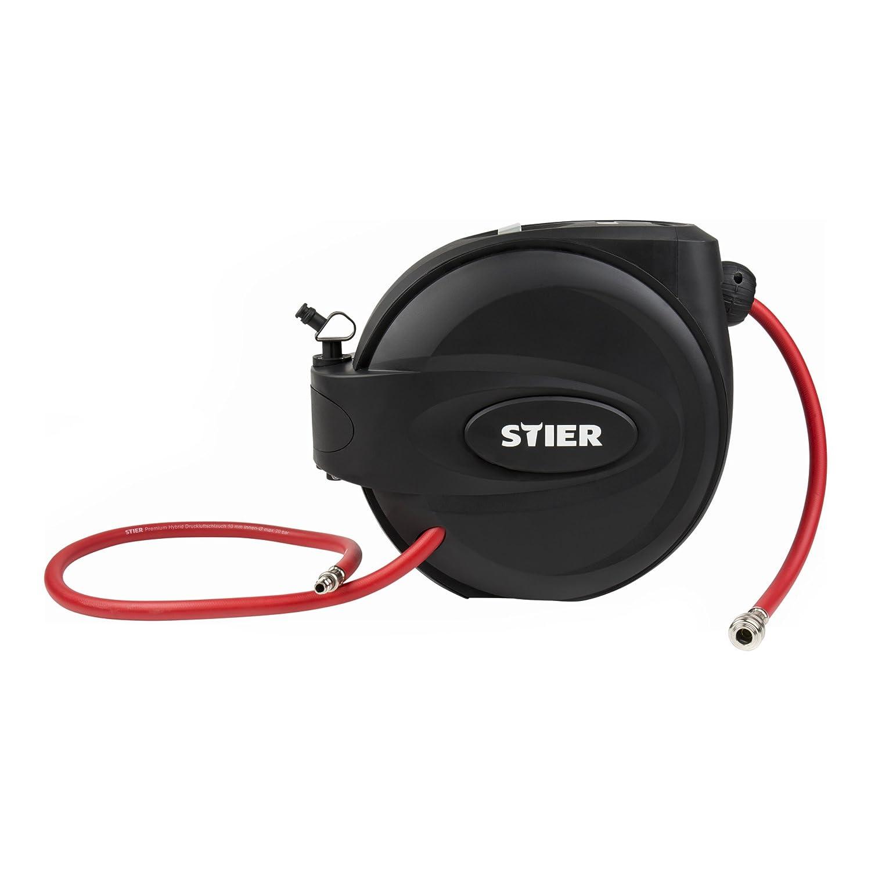 STIER Druckluft-Schlauchtrommel SST-15, Druckluftschlauch, 20 bar, Lä nge 15m, flexible Anwendung, inklusive Auto-Stopp