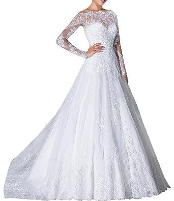 Tianshikeer Hochzeitskleid Spitze A Linie Tull Glitzer Lang Elegant