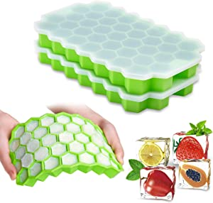 Ice Cube Trays with Lids,2-Pack 74 Ice Cubes Food Grade Silica Gel Flexible and BPA Free with Spill-Resistant Removable Lid Ice Cube Molds for Chilled Drinks, Whiskey & Cocktails