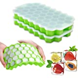 Ice Cube Trays with Lids,2-Pack 74 Ice Cubes Food Grade Silica Gel Flexible and BPA Free with Spill-Resistant Removable…