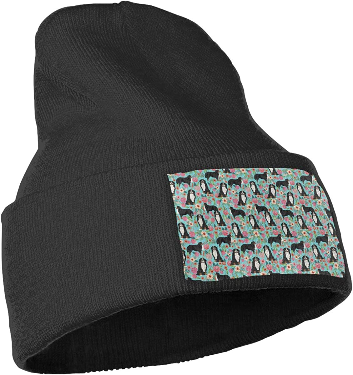 Pet Dog Floral Unisex Stretchy Serious Style Beanie Hat Skull Jogging Cap