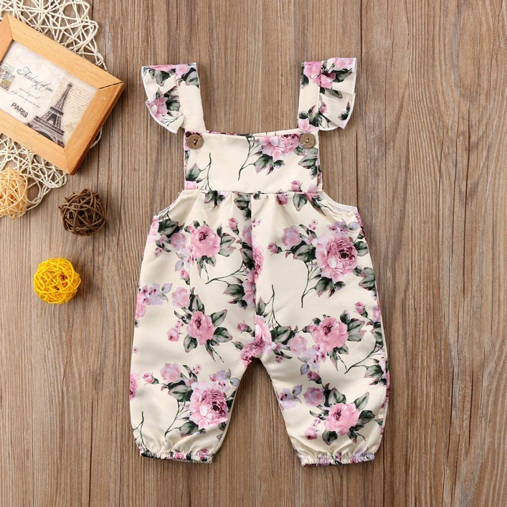 Sameno Fashion Infant Baby Girls Sleeveless Floral Print Jumpsuit Romper Outfits Clothes