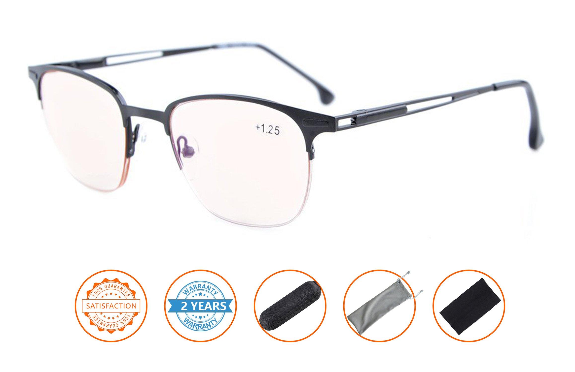 UV Protection,Anti Blue Rays,Reduce Eyestrain,Half-Rim Computer Reading Glasses(Black,Amber Tinted Lenses) +1.0