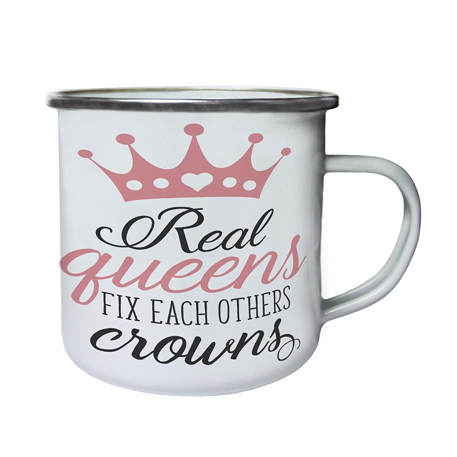 Real Queens Fix各Others Crownsレトロ、Tin、エナメル10ozマグn758e B0749D8CD3
