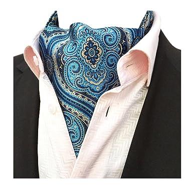 fa173d6929ebf YCHENG Hommes Cravate Foulard Fleurs Soie De Lier Echarpe Monsieur Paisley  Cravat Ascot Scarf Argenté