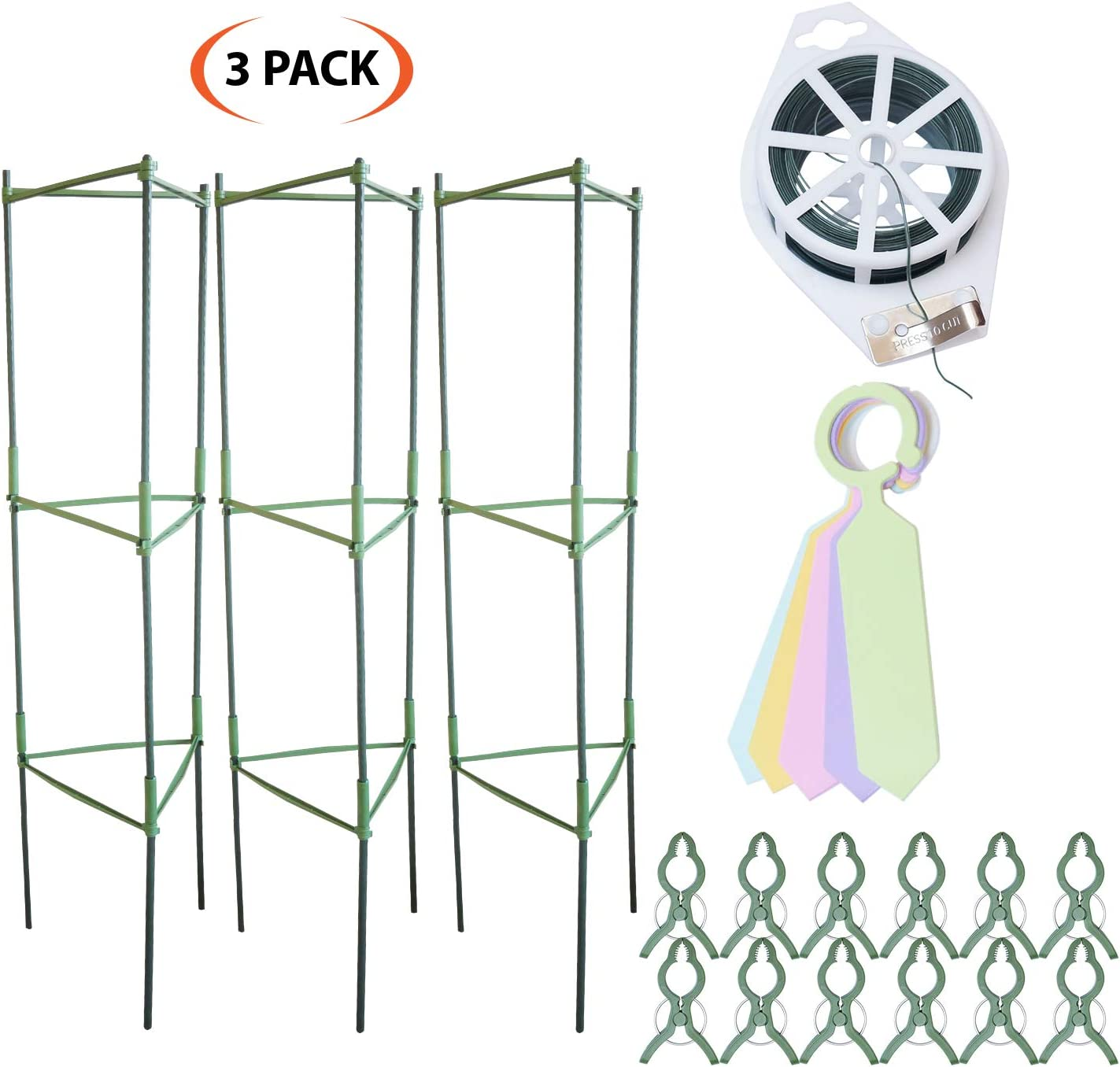 Grow Your Pantry Tomato Cages from 3 Pack of Strong and Durable Plant Cages for Growing Vegetables and Fruits with Bonus Plant Clips 100M Twist Tie Device