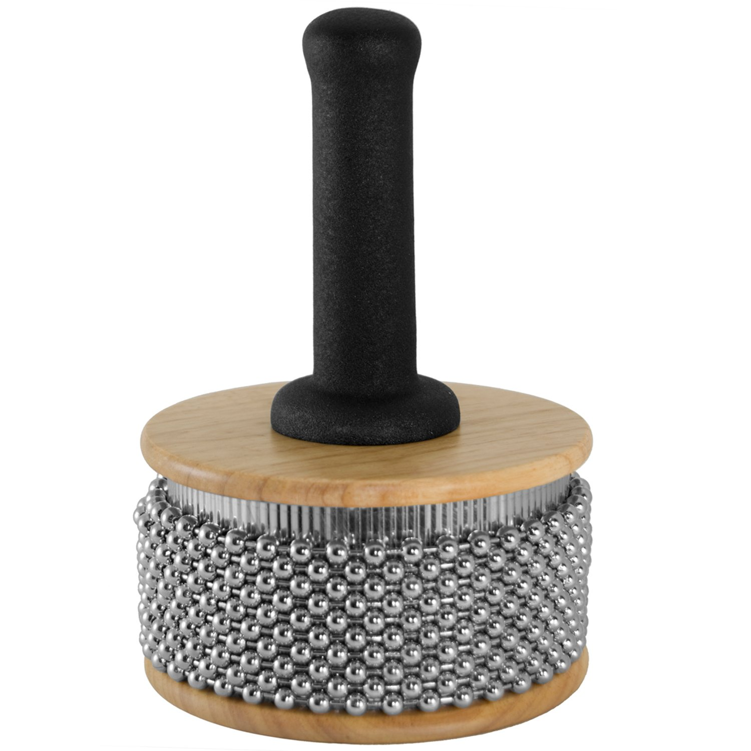 Tiger Large Wooden Cabasa - Rubber Coated Handle and Steel Ball Cylinder by Tiger Music