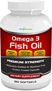 Omega 3 Fish Oil Supplement (180 Softgels) - 2400mg Triple Strength Fish Oil with 800mg EPA & 600mg DHA Omega-3 Fatty Acids Per Serving - with Enteric Coating - Molecularly Distilled Fish Oil