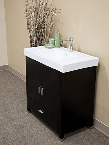 Bellaterra Home 203107-S 31.5-Inch Single Sink Vanity, Wood, Black
