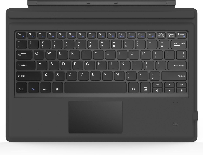 MoKo Surface Pro 7/6/4/3/Pro 2017 Teclado Inalámbrico Bluetooth - Wireless Keyboard (QWERTY) para Microsoft Surface Pro 6/4 / 3 Tableta/Panel Táctil 2 Botones, (NO Apta para Surface 3) Gris