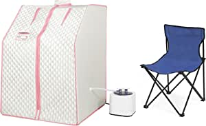 KUNSANA Oversize Portable Personal Steam Sauna Tent Spa Sauna Box with Foldable Chair,Weight Loss,Detox,Relaxation at Home