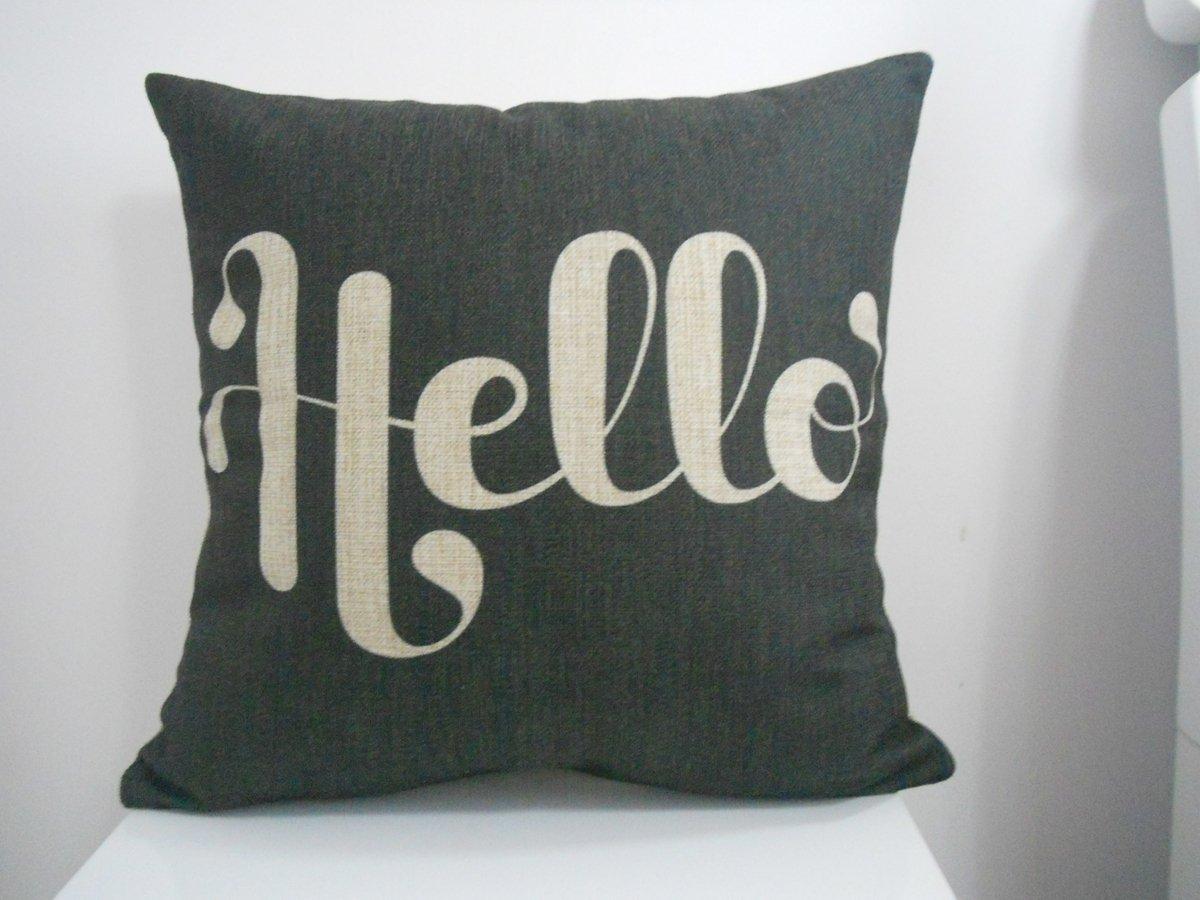 Amazon.com: Decorbox Cotton Linen Square Fashion Throw Pillow Case Shell Decorative Cushion Cover Pillowcase Black White Hello 18 \