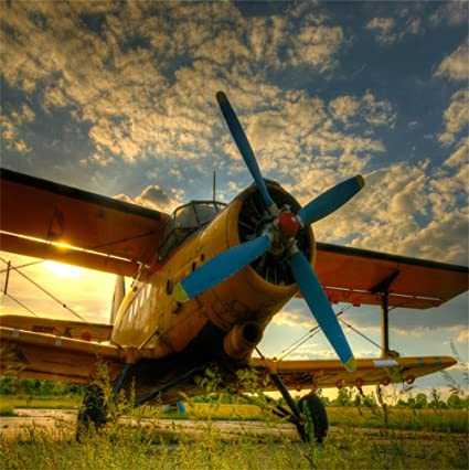 Csfoto 5x5ft Background For Airplane With Propeller Old Retro Plane Close Up Photography Backdrop Sunset Biplane Engine And Fuselage Nostalgic History