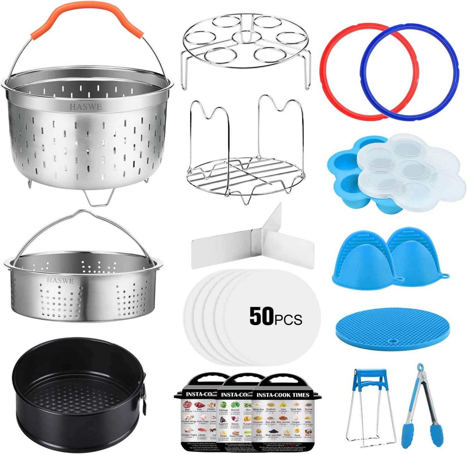 Haswe Accessories Set for Instant Pot 5/6 qt Pressure Cookers,2 Steamer Baskets/Springform Pan/Silicone Egg Bites Mold/Steamer Rack Trivet with handles/2 Sealing Ring/Parchment Paper (Blue)