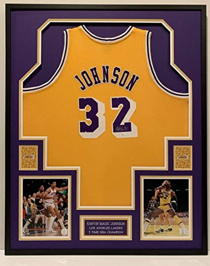 40026c4aee03 Earvin Magic Johnson  32 L.A. Lakers Hof 02 Autographed Signed Framed Jersey  Beckett Authentic
