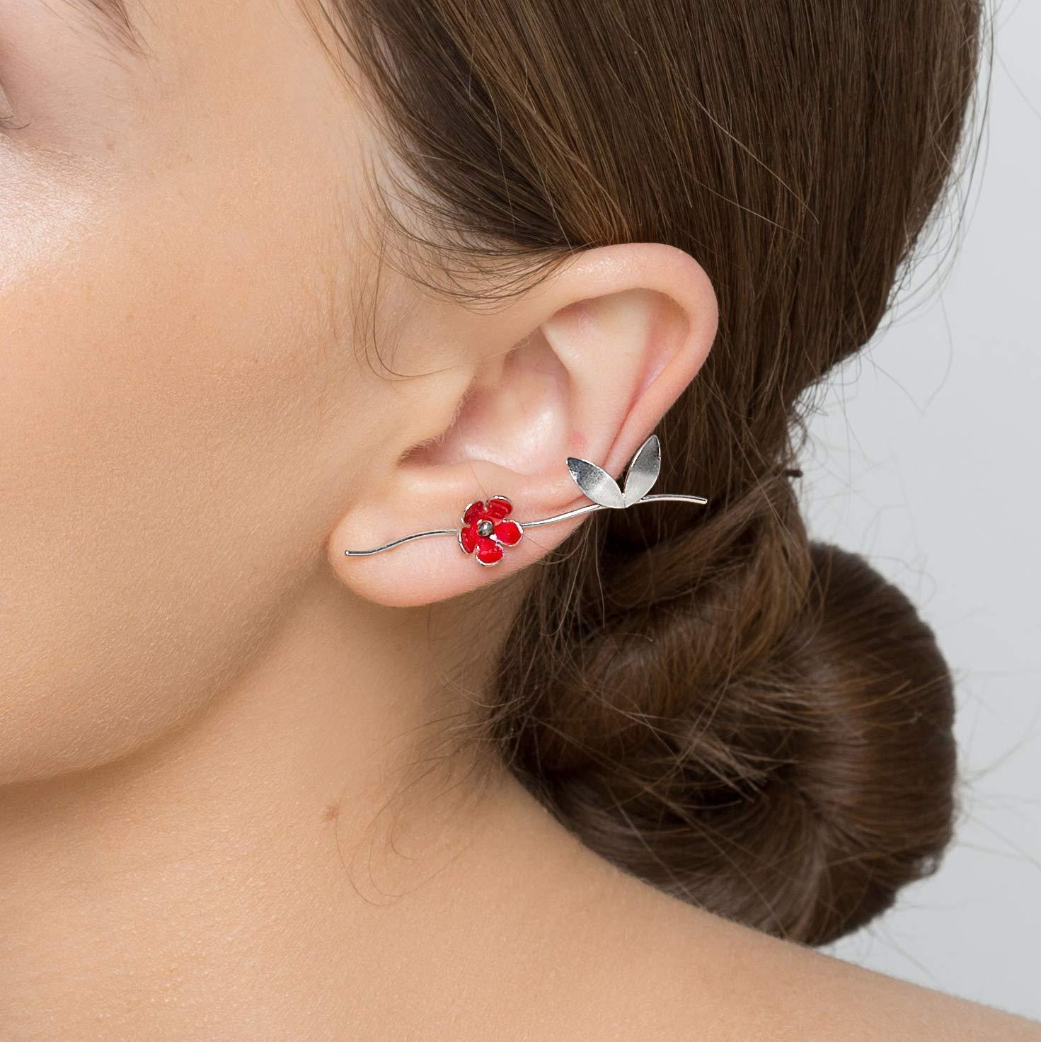 Sterling Silber Blatt Ohr Manschette Anweisung Ohrring Manschette Gold Ohr Kletterer roter Ohrring Blume Ohrring Emaille Ohrring Emaille Schmuck Mohn Ohrring
