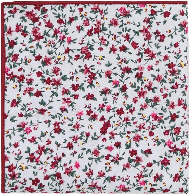 Dan Smith C.C.N.B.005 Beige Pink Elegant Floral Cotton Neck Tie Hanky for Party