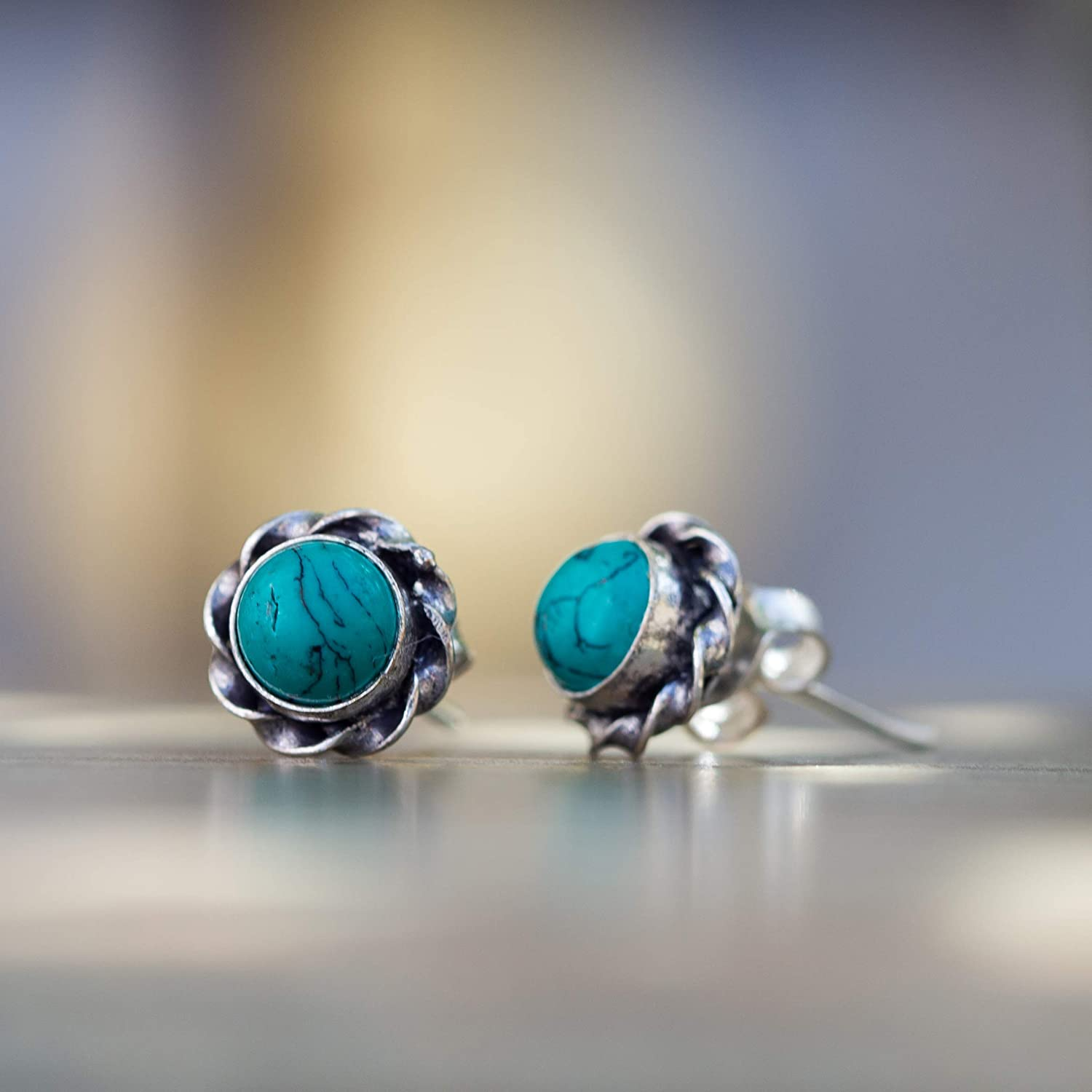 Wavy Spiral Turquoise Purple Turquoise Green Turquoise Spiny Oyster thin sterling silver post earrings