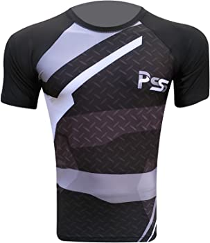 Mens Rash guards base layer fitness T-shirt compression top gym fit half sleeve