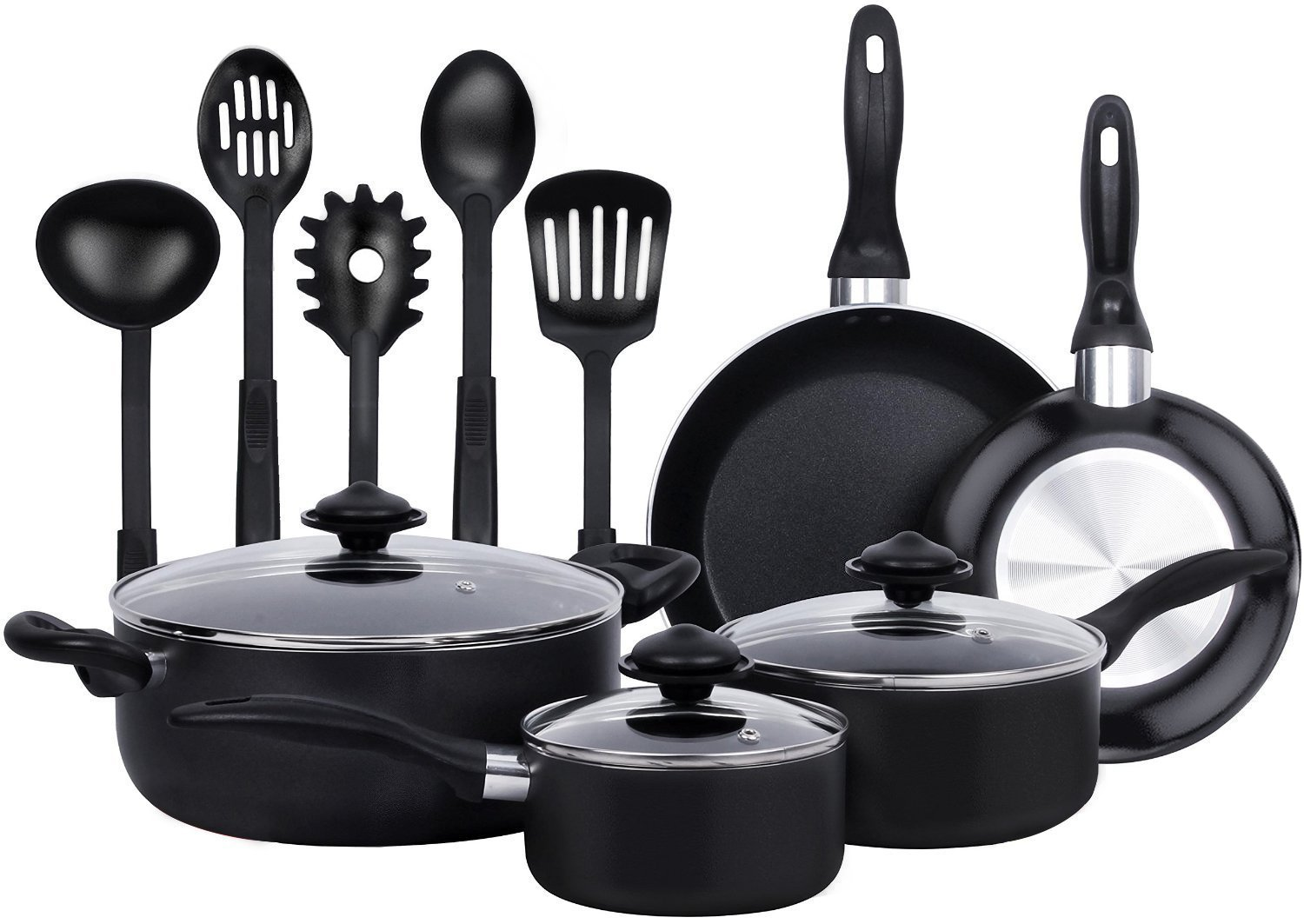 13 Pieces Kitchen Cookware Set - Black, Highly Durable, Even Heat Distribution, Double Nonstick Coating - Multipurpose Use for Home, Kitchen or Restaurant - by Utopia Kitchen UK0056