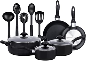 Amazoncom 13 Pieces Kitchen Cookware Set Black Highly Durable