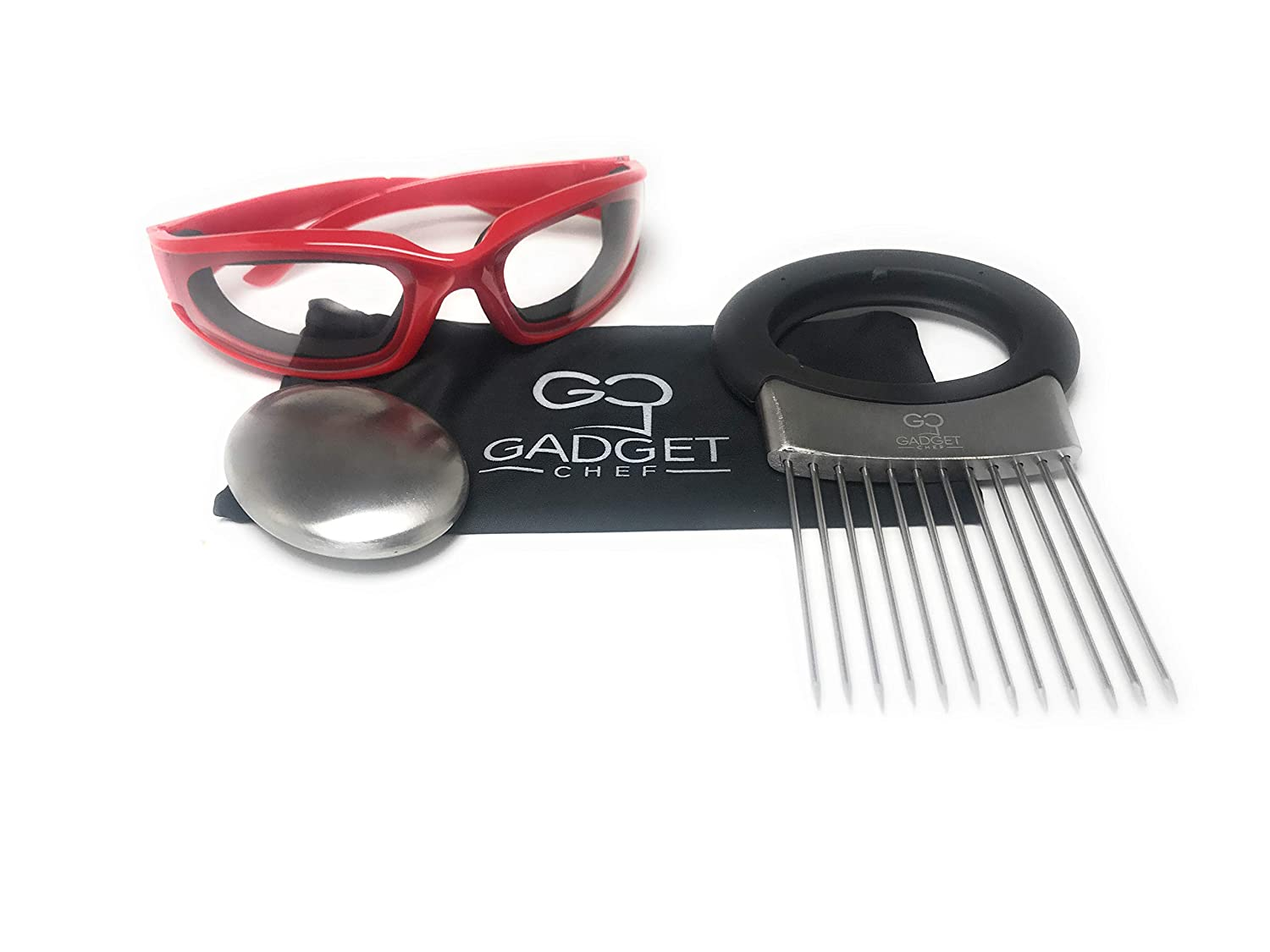 Onion Goggles Onion Holder Set – Includes Tear Free Anti Fog Onion Glasses with Free Micro Fiber Case, All in one Stainless Steel Onion Holder with Odor Remover. Must Have Kitchen Gadget Set (Black) Gadget Chef