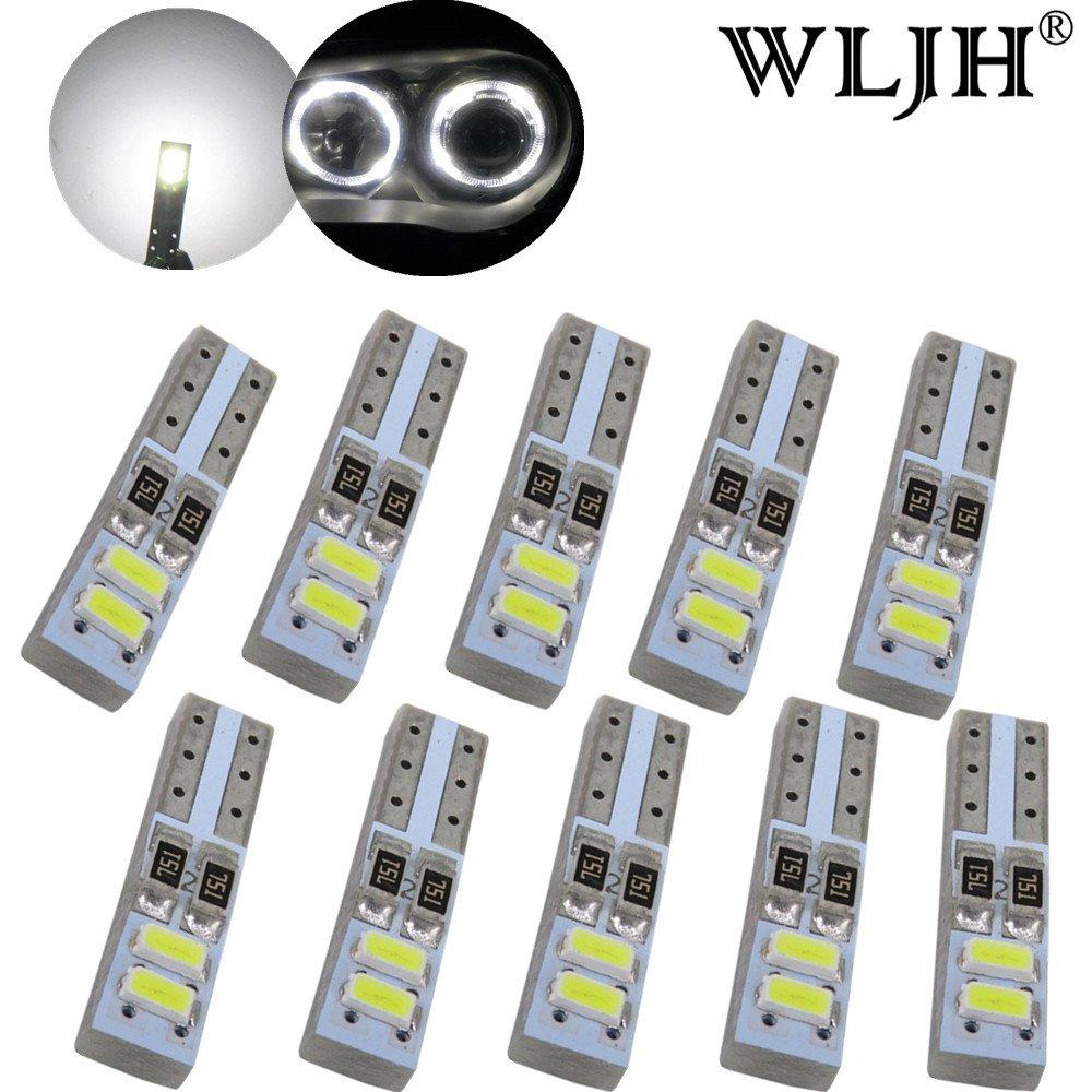 WLJH 10 pcs T5 Blanc 6000 K CANBUS erreur gratuit LED Yeux dange Halo Bague marqueur ampoules
