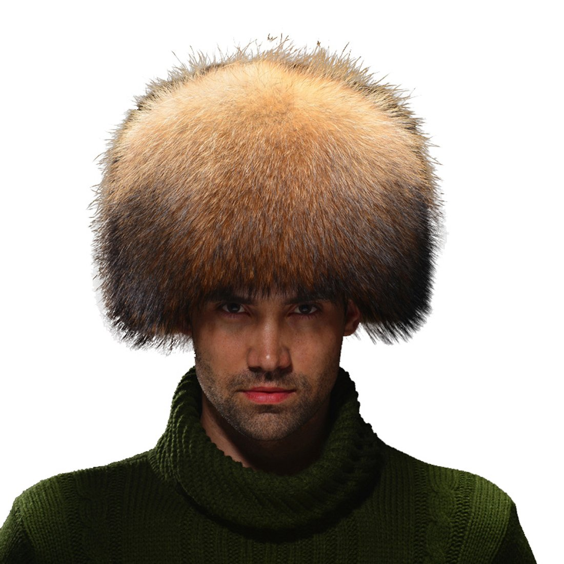 URSFUR Coonskin Cap Raccoon Fur Trapper Hat (One Size Fits All, Natural Color)