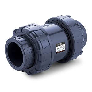 HYDROSEAL Sharkfellow 1 1/2'' PVC True Union Ball Check Valve with Full Port, ASTM F1970, with EPDM Seals, Corrosion-Free, Service Free, Rated at 200 PSI @73F, Gray, 1 1/2 inch Socket (1 1/2'')