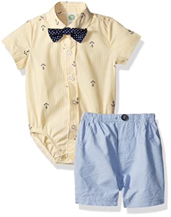 0aac588b160 Amazon.com  Little Me Baby Boys  Woven Bodysuit and Short Set  Clothing
