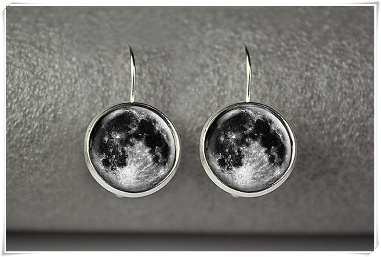 Pendientes de luna completa, pendientes de luna, joyería de luna, joyería de cristal de cúpula, puro hecho a mano
