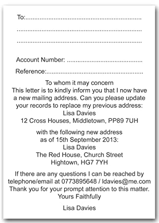 Personalised Change of Address Cards Moving House Utility Bills Checklist  x10
