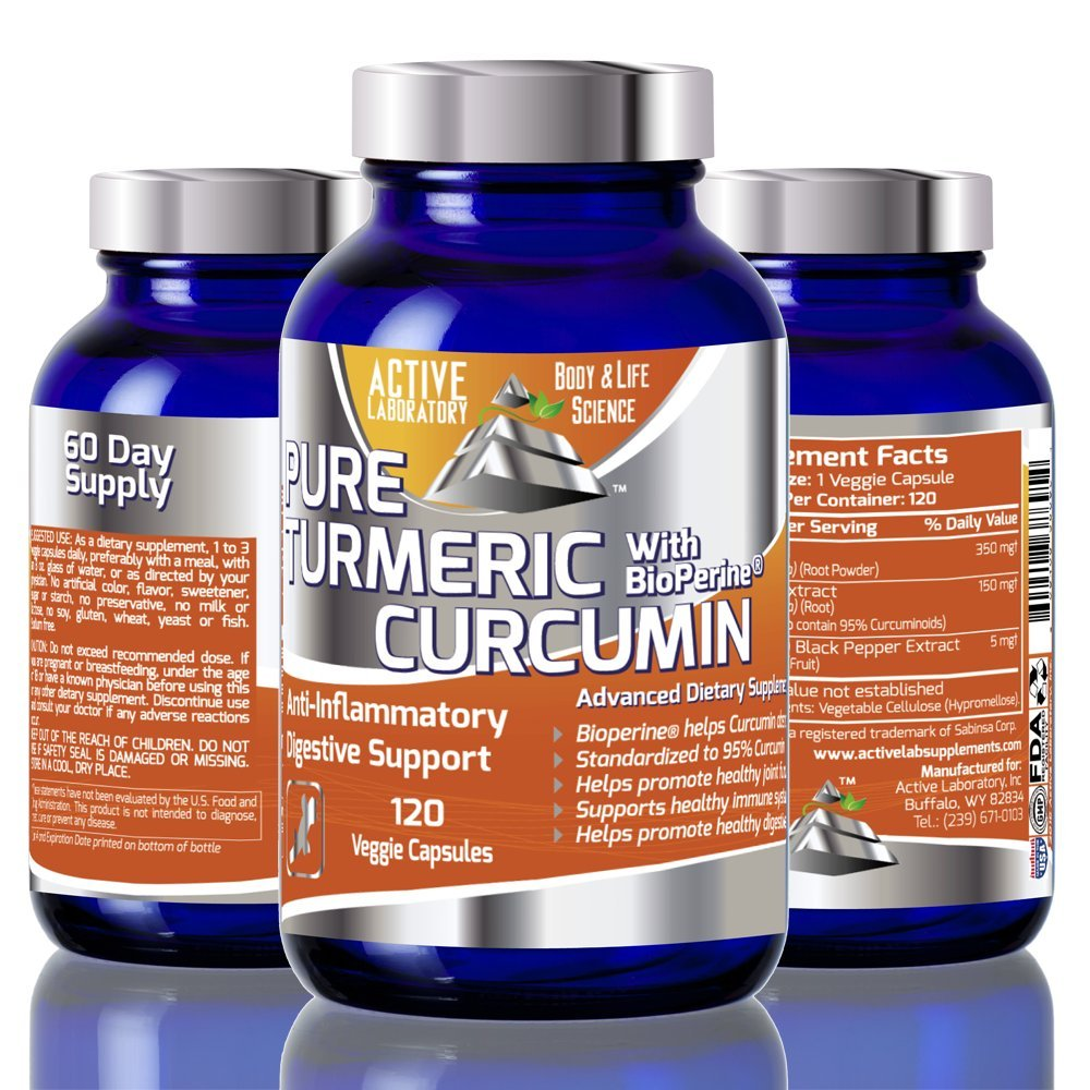 Organic Turmeric Curcumin with Bioperine 95% curcumonoides-#1 on AMZ-1000mg Daily Serving 120 Day Supply Standardized to 95% Curcumin Super Absorption for Maximum Effect 100% Guaranteed By Active Labs