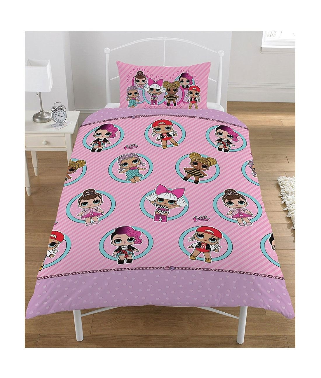 DIGITAL SPOT Girls LOL Surprise Collectible Reversible Quilt Pillow Case Kids Single Bedding Single Size