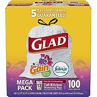 2-Pack x 100-Count Glad Tall Kitchen Drawstring 13 Gallon Trash Bags
