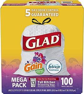 Glad Tall Kitchen Drawstring Trash Bags - OdorShield 13 Gallon White Trash Bag, Gain Moonlight Breeze - 100 Count