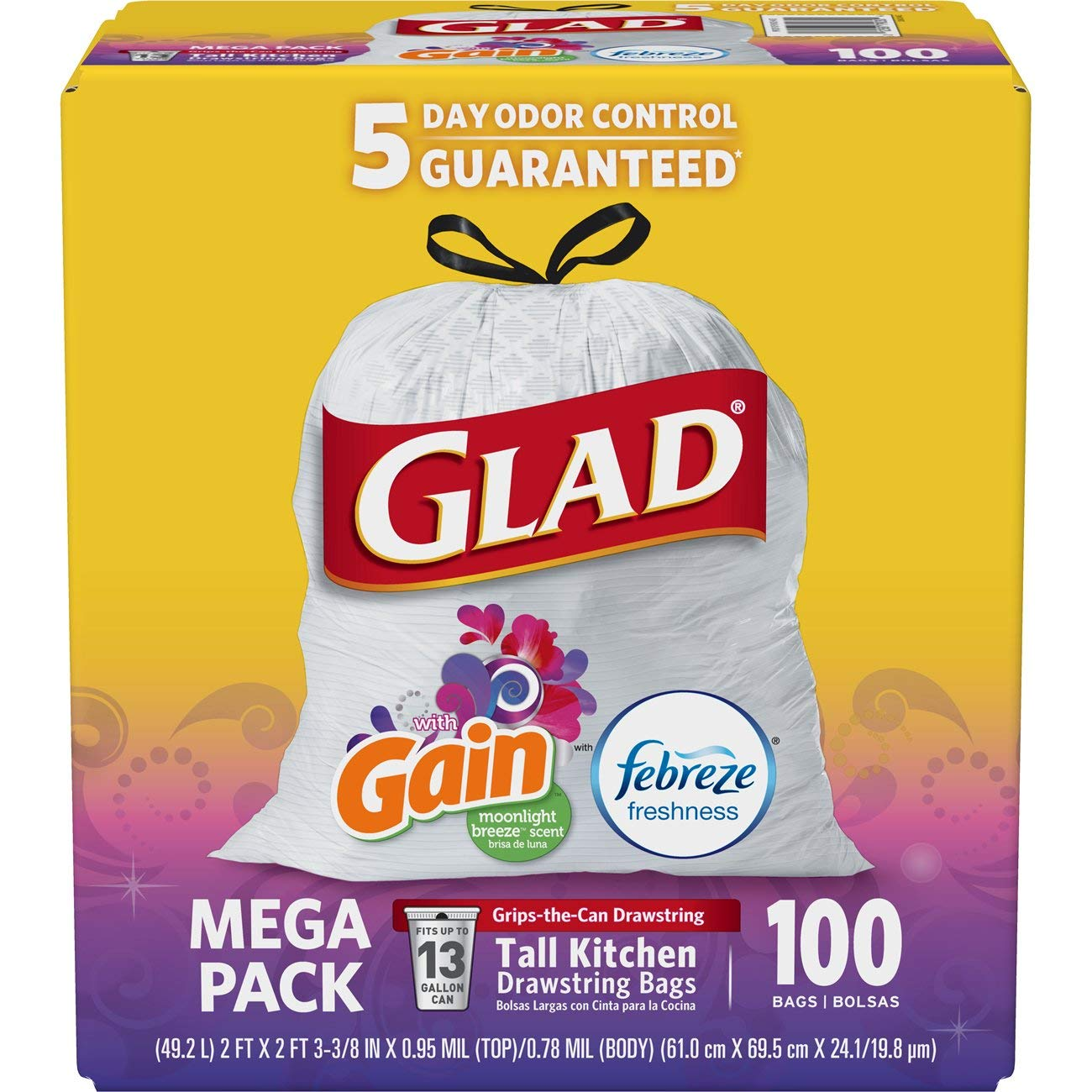 Glad Tall Kitchen Drawstring Trash Bags   Odor Shield 13 Gallon White Trash Bag, Gain Moonlight Breeze   100 Count by Glad