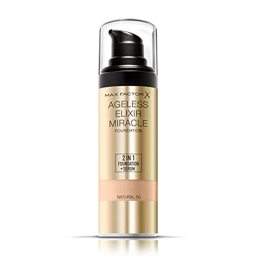 Max Factor Ageless Elixir 2-in-1 Foundation and Serum, SPF 15, 50 Natural