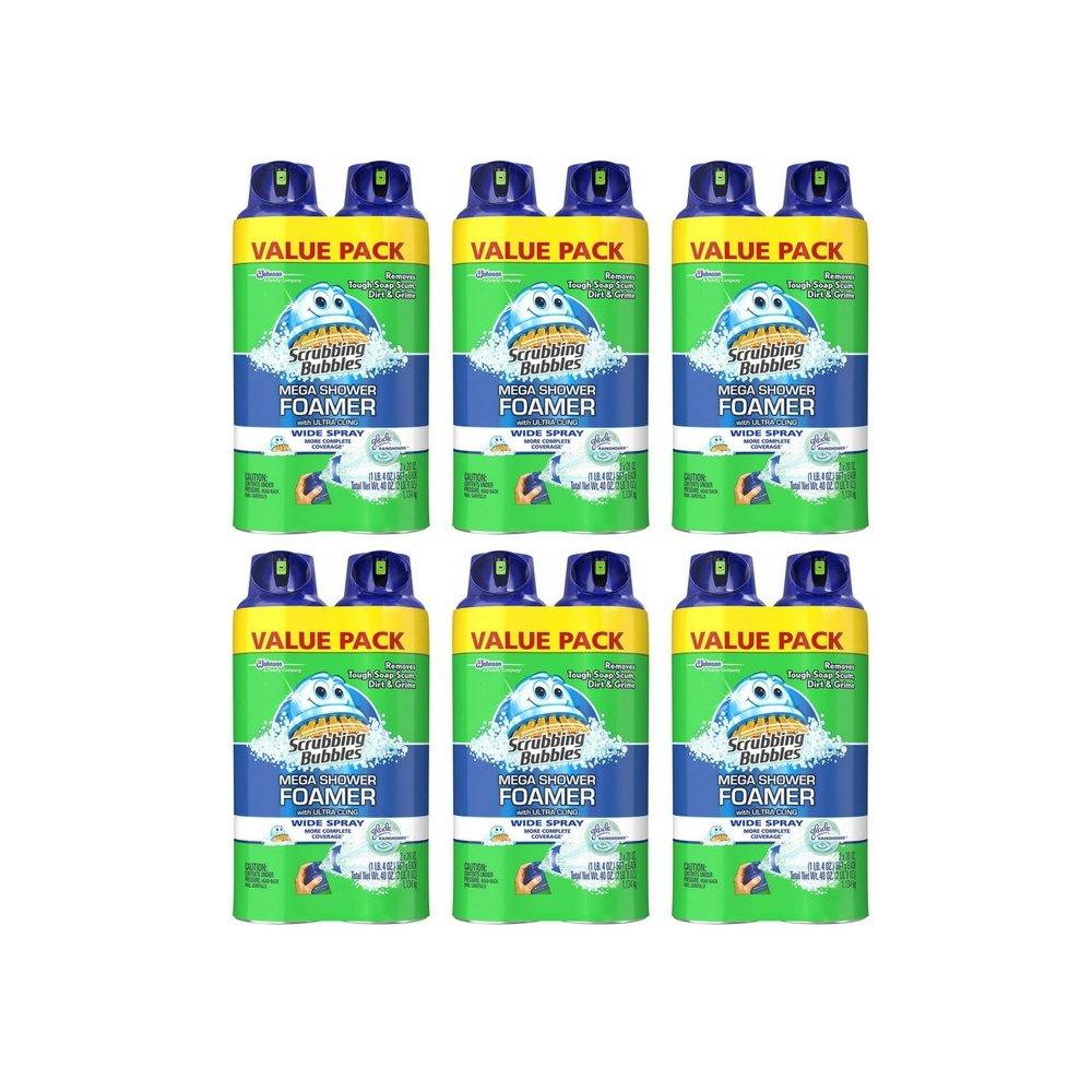 Scrubbing Bubbles Mega Shower Foamer Bathroom Cleachner, 2Count, 20 Fluid oz (Value Pack 6), Green by Scrubbing Bubbles