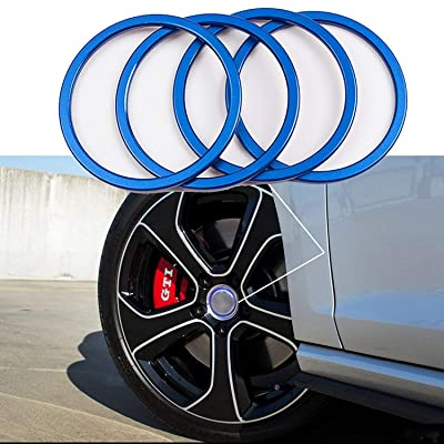 4 Pieces Pack Car Wheel Center Cap Hub Rings Alloy Decoration For VW Volkswagen Tiguan L Caddy EOS Golf Jetta Phaeton Scirocco Sharan Touran Transporter (Blue) Size: inner 2.21 inch: Automotive