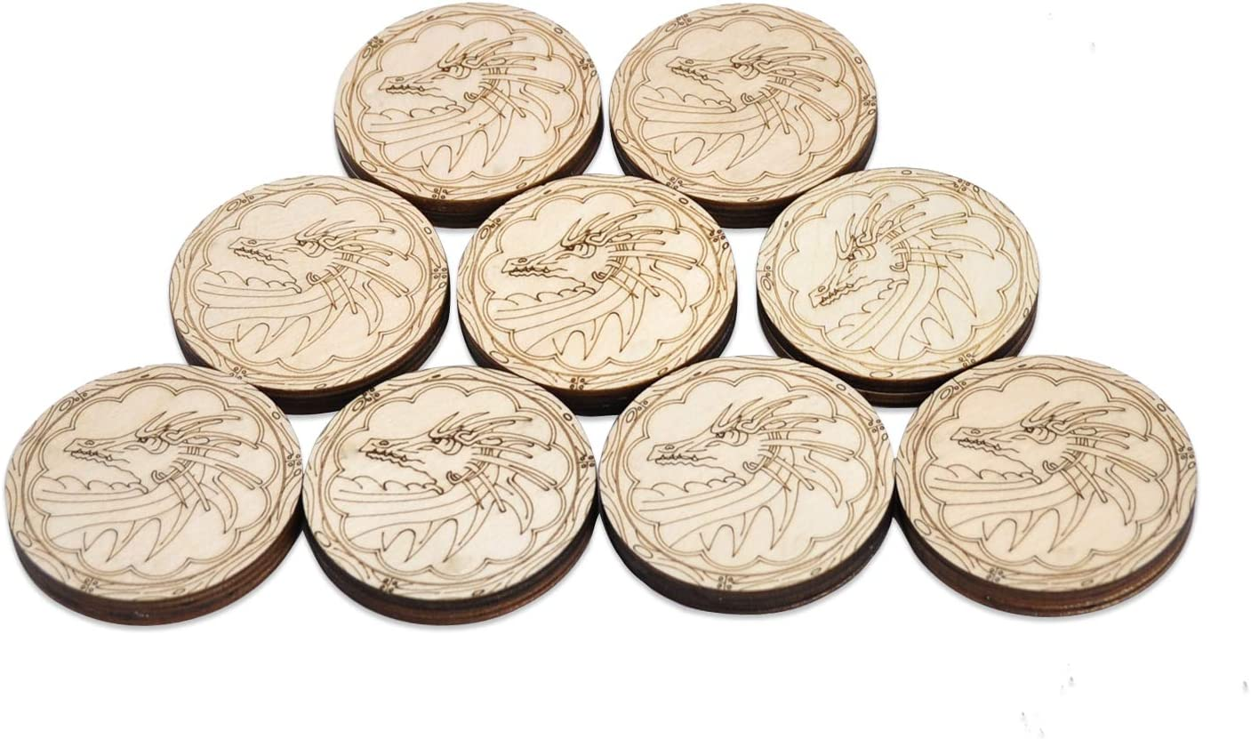 D&D Inspiration Coin Tokens Laser Cut Wood Carved with Dragon & Ship Rudder (Set of 9) Perfect for Pathfinder, RPG and Board Game