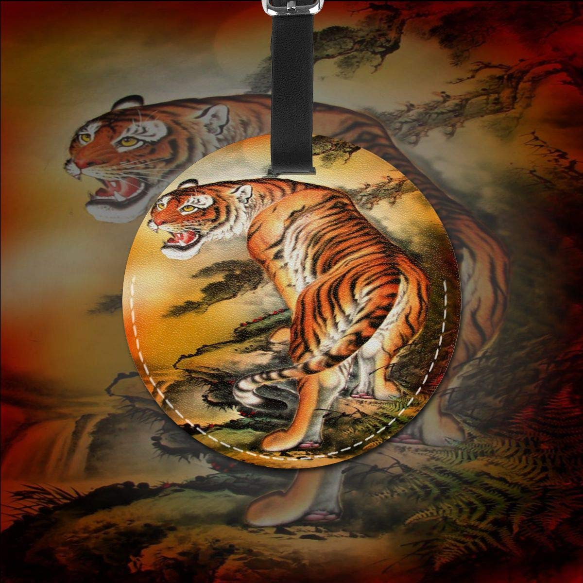 Free-2 Tiger Painting Art Luggage Tag 3D Print Leather Travel Bag ID Card