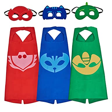 babylian PJ Masks Costumes, Super Hero Dress Up Costumes With Masks and Capes For Kids