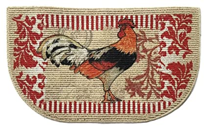 Amazon.com : Rooster 9 x 9 Inch Kitchen Rug : Kitchen Mats ...