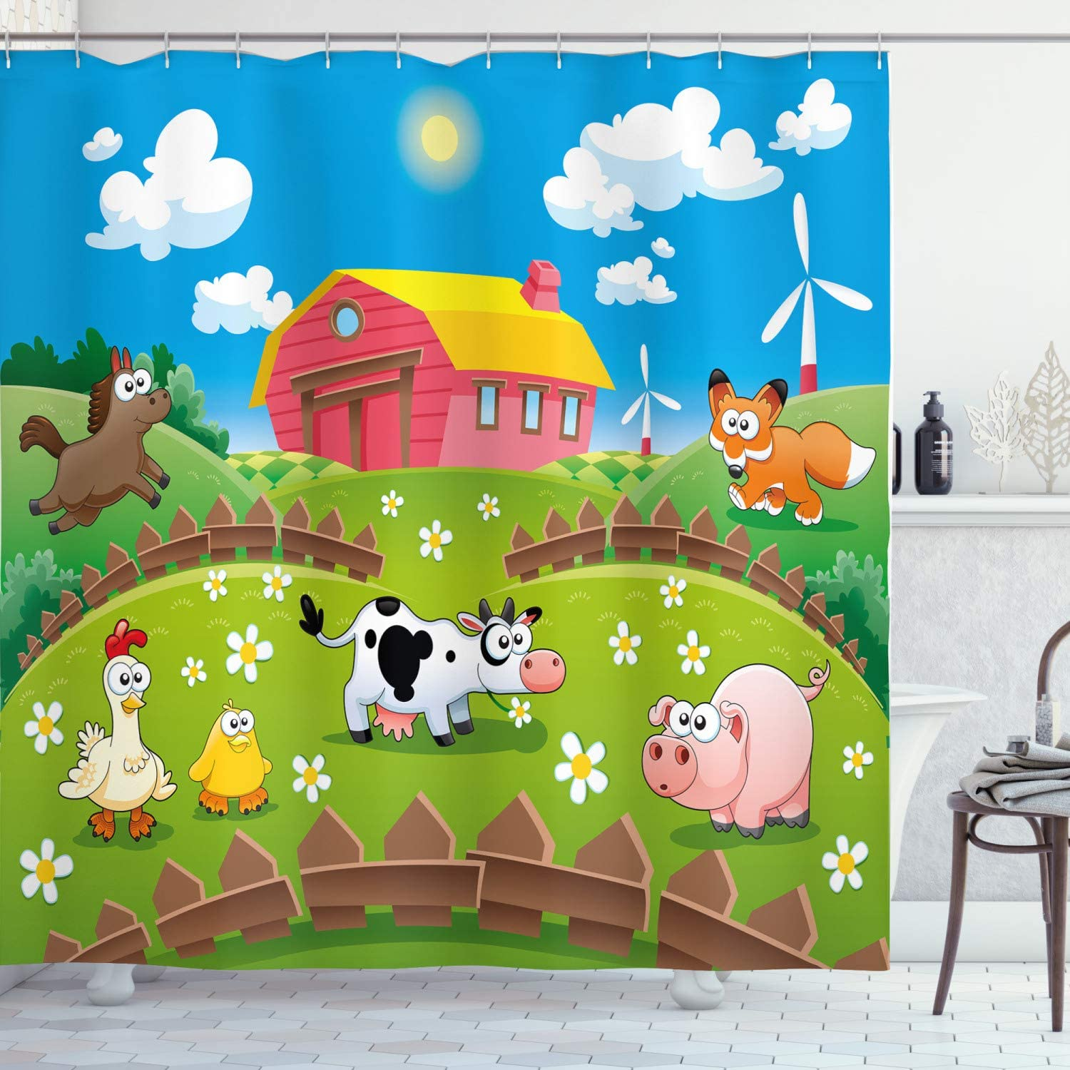 """Ambesonne Cartoon Shower Curtain, Farm with Cow Fox Chicken Pig Horse in The Fences Countryside Rural Children Design, Cloth Fabric Bathroom Decor Set with Hooks, 75"""" Long, Dark Pink"""