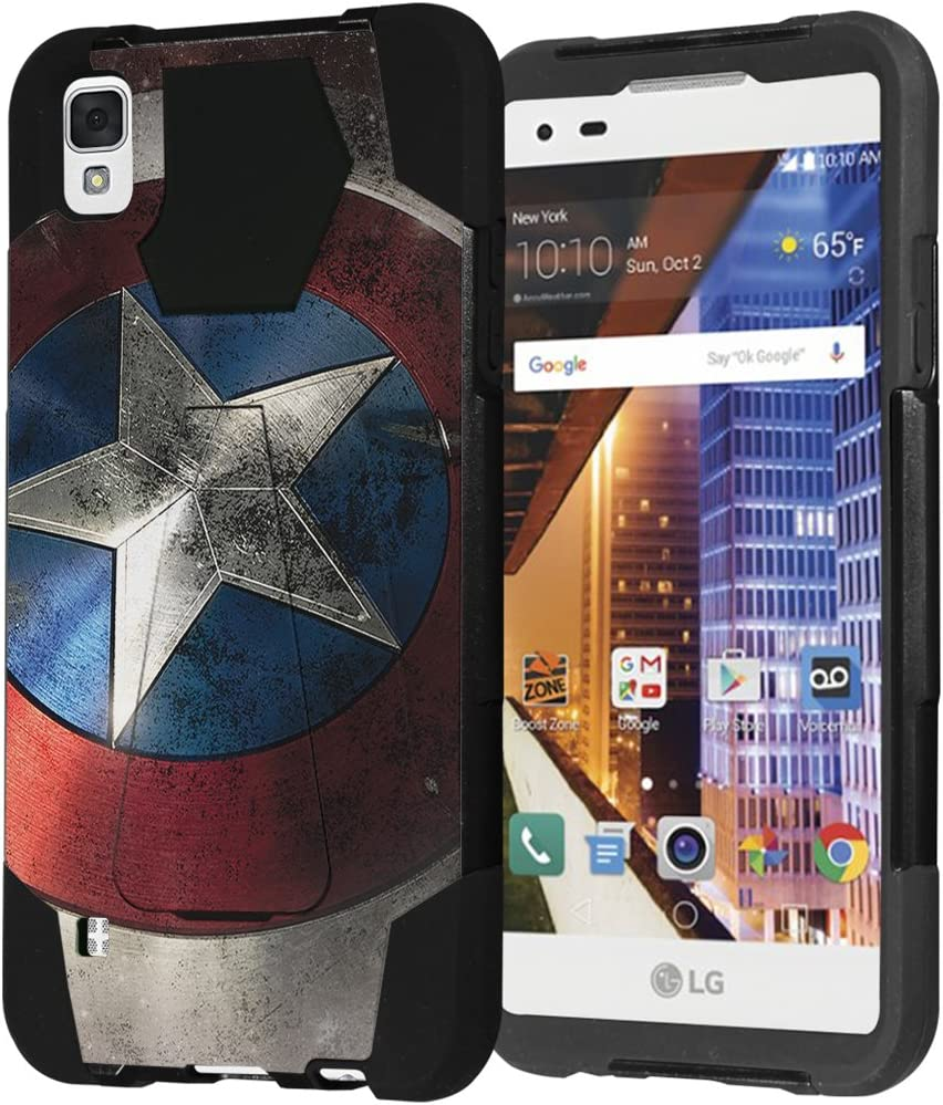 LG Tribute HD Case, LG X Style Case, Capsule-Case Hybrid Fusion Dual Layer Shockproof Combat Kickstand Case (Black) for LG TributeHD LS676 / LG X Style L56VL L53BL - (Rock Star)