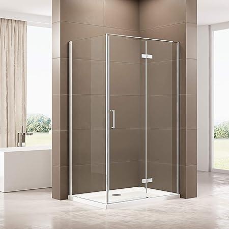 Cabina de ducha de 90 x 120 cm con plato de ducha de SMC, mampara de cristal ESG, efecto loto, función de elevación y descenso: Amazon.es: Bricolaje y herramientas